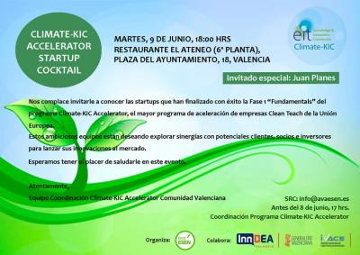 Invitación Climate-KIC Accelerator Startup Cocktail