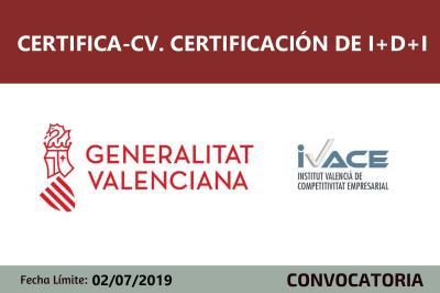 Convocatoria de Subvenciones Certifica CV certificación I+D+I