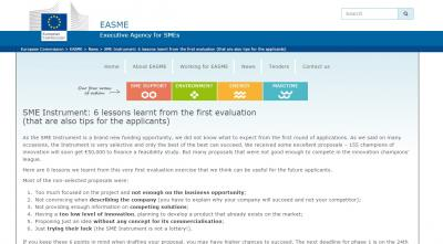 SME Instrument: 6 lessons learnt from the first evaluation