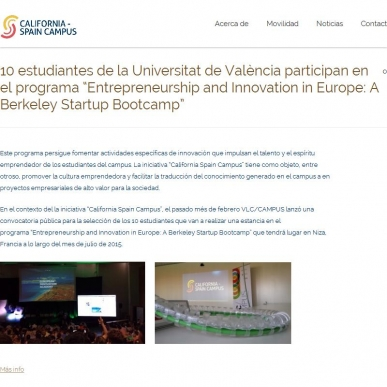 "10 estudiantes de la Universitat de València participan en el programa ""Entrepreneurship and Innovation in Europe: A Berkeley Startup Bootcamp"""