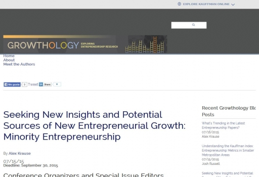 Seeking New Insights and Potential Sources of New Entrepreneurial Growth: Minority Entrepreneurship