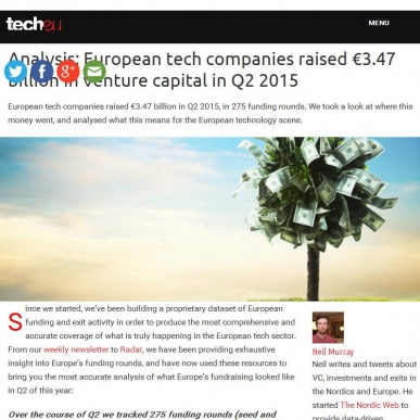 Europe raised 3.47 billion in venture capital in 2015